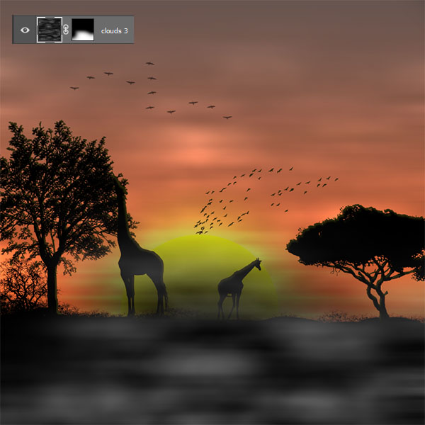 African sunset with Photoshop