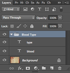 Blood Type Photoshop Tutorial Type in Layer Group