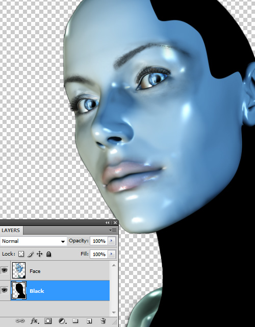 Create a cyborg with photoshop - Step :floating the black side of the cyborg cbs8 Create a Cyborg With Photoshop