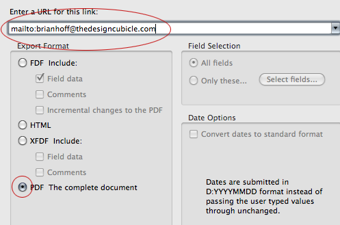 How to create interactive PDF forms - Step : url for submittal